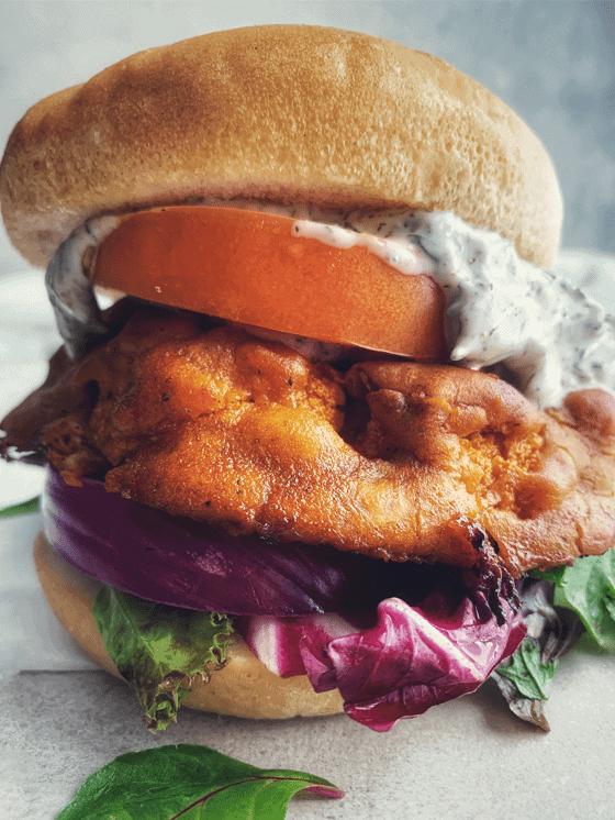 Vegan Gluten-Free Buffalo Cauliflower Sandwich