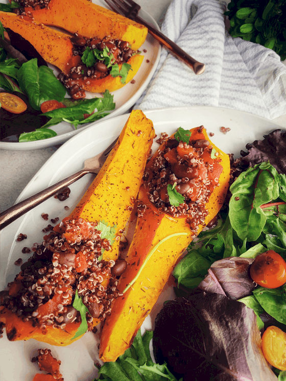 Spicy Tomato Black Bean  Quinoa with Roasted Butternut Squash