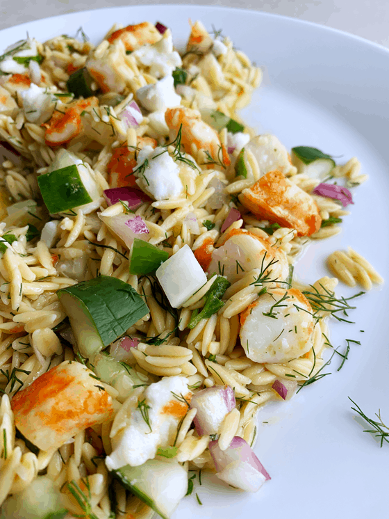 Vegan Gluten-free Roasted Shrimp Orzo Pasta Salad