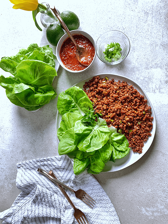These spicy vegan lettuce wraps are perfect for vegan, gluten-free, low-carb and keto diets. There simple to make and easy to veganize.