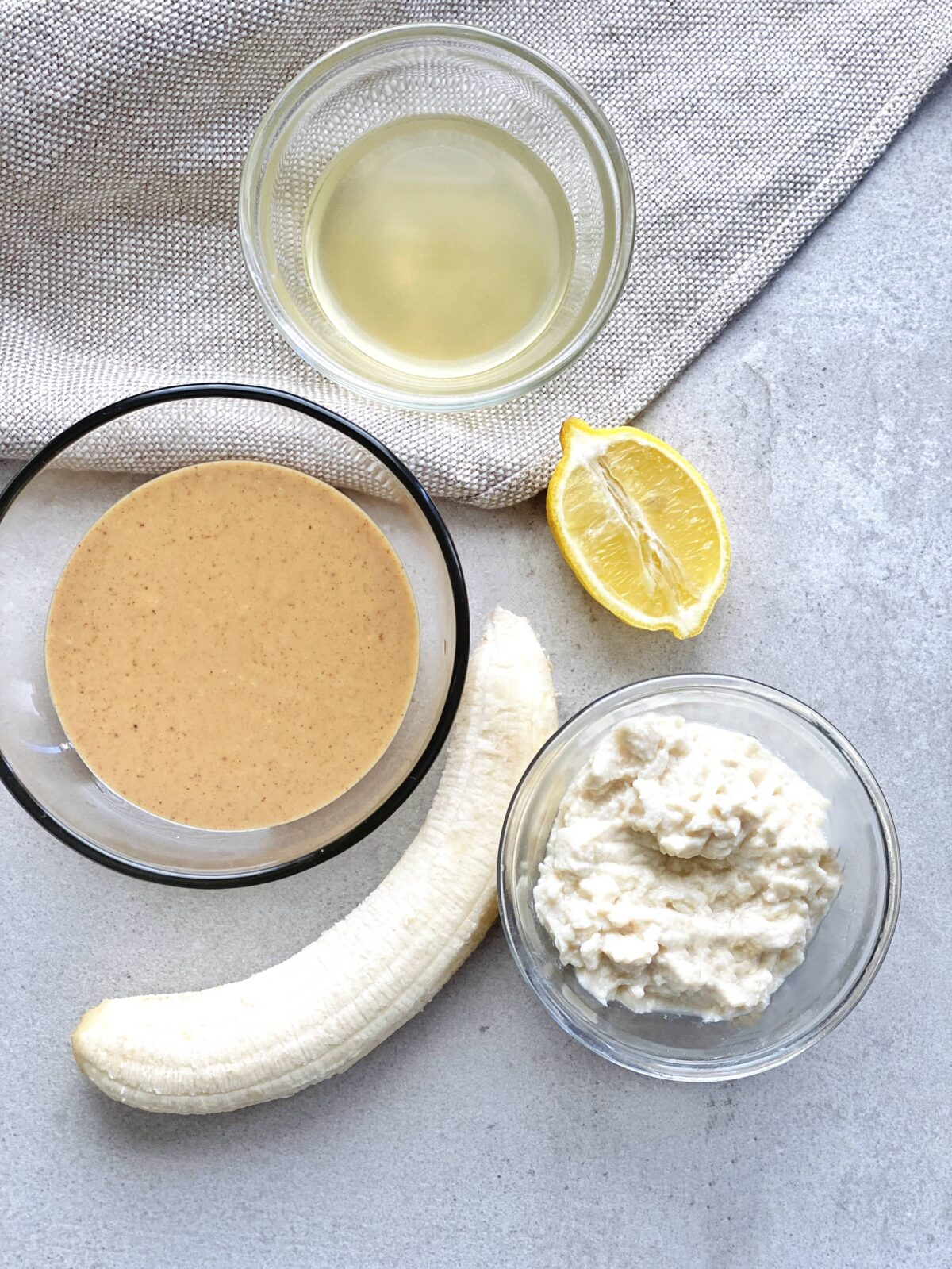 Ingredients for peanut butter banana mousse