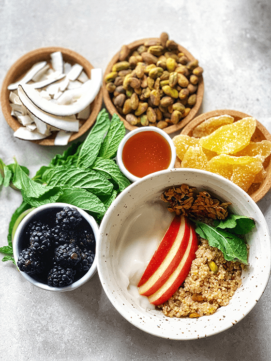Try this high protein quinoa breakfast bowl recipe from The Vgn Way