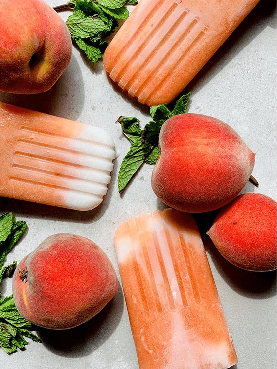 Peaches and Cream Vegan Popsicles