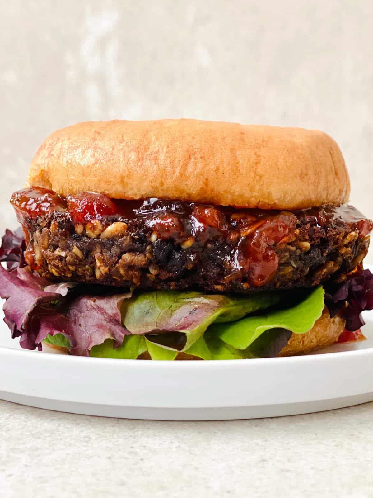 Vegan Gluten free Black Beans Burger with Tomato Jam