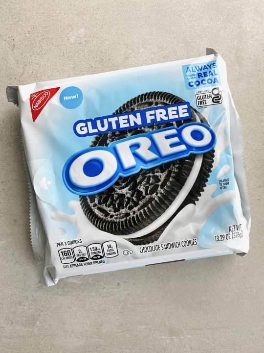 A package of vegan gluten-free oreo chocolate sandwich cookies