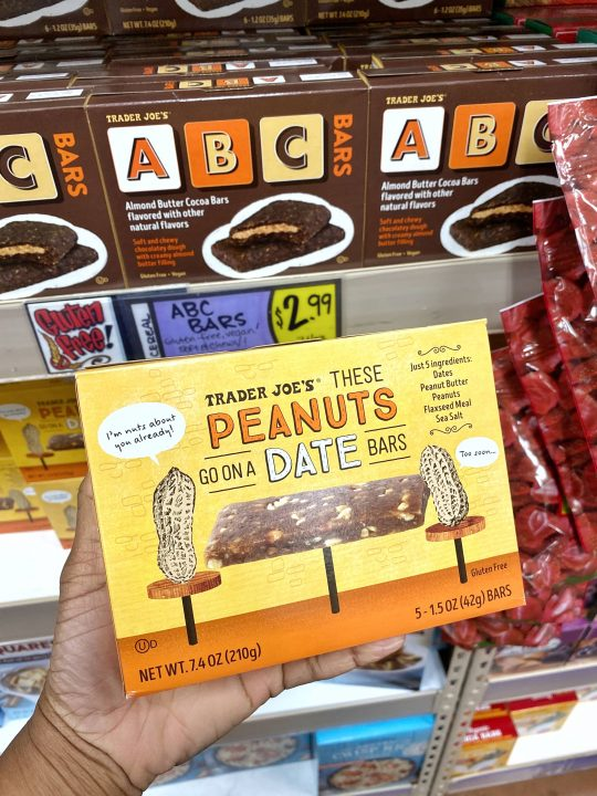 Trader Joe's These Peanuts Go On A Date Bars Vegan & Gluten-free