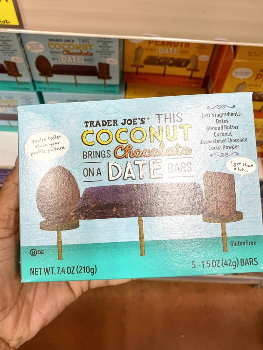 Trader Joe's This Coconut Brings Chocolate On A Date Bars Vegan & Gluten-free