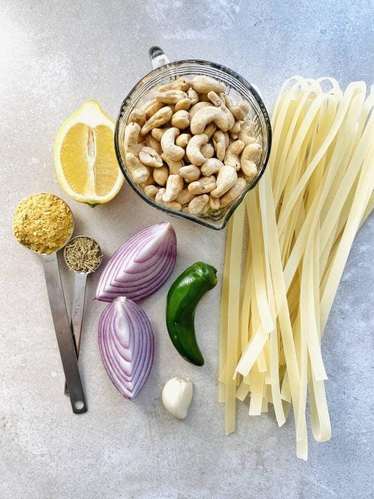 Ingredients for vegan gluten-free alfredo sauce