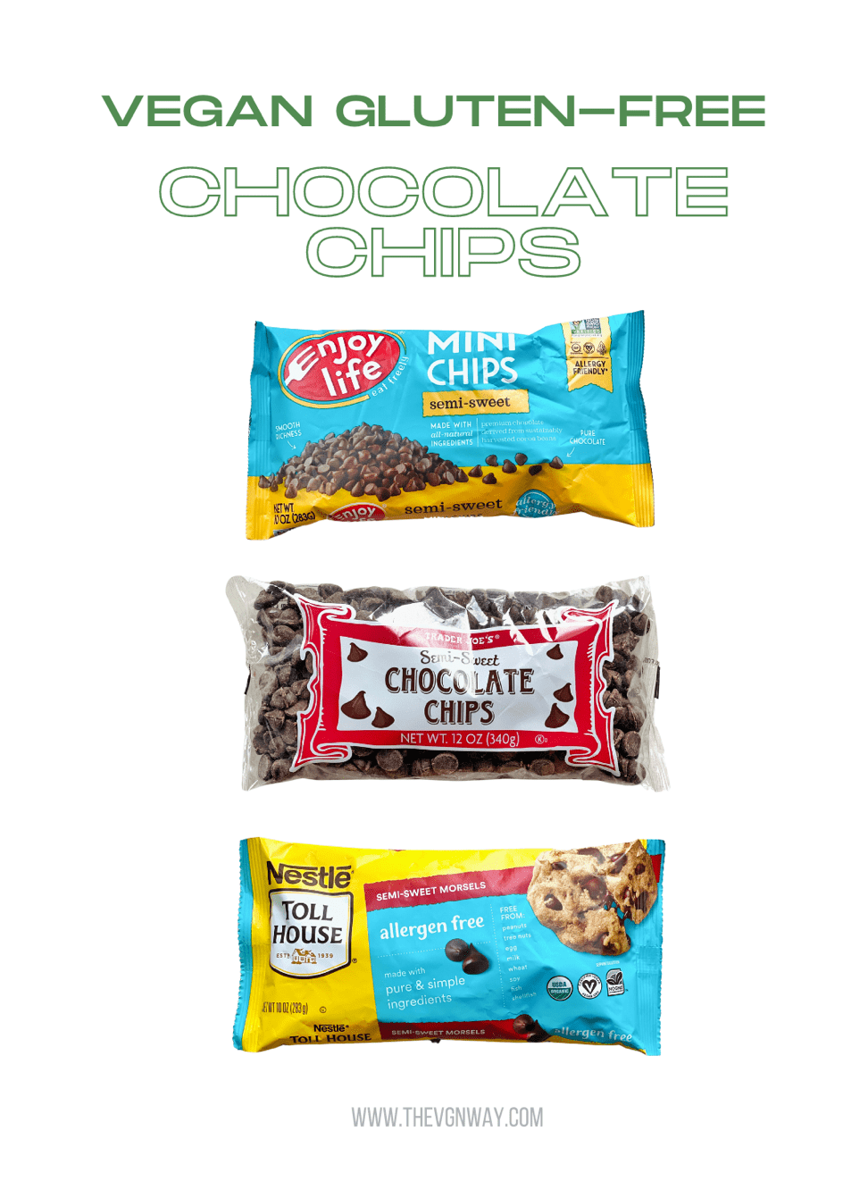 Three bags of different vegan gluten-free chocolate chips currently available to purchase in store