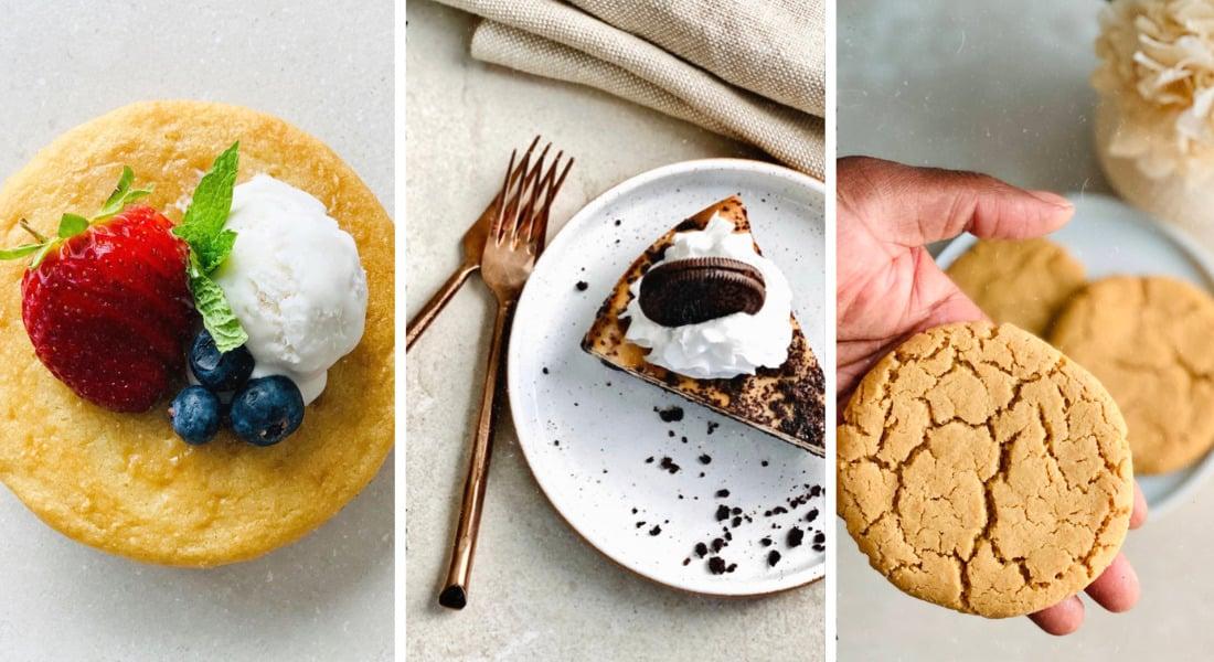 Pictured from right to left gluten-free vegan strawberry shortcake, vegan gluten-free oreo cheesecake and classic vegan gluten-free peanut butter cookie