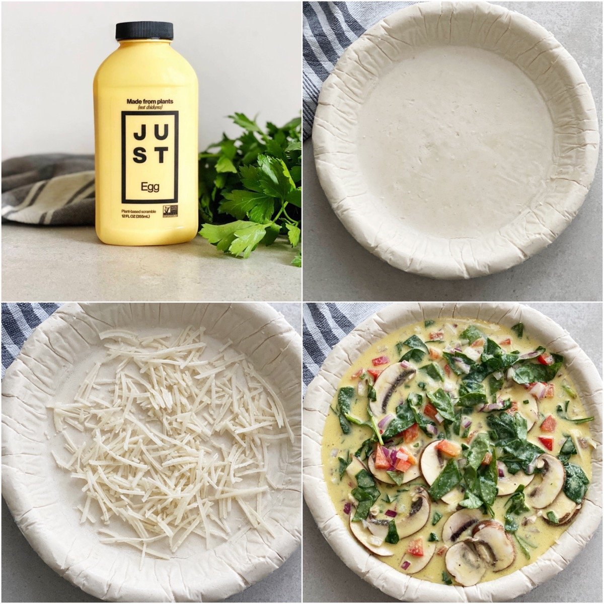 Series of photo showing steps to make vegan quiche