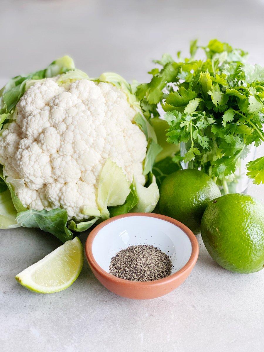 Chipotle Copycat Cilantro Lime Cauliflower Rice Ingredients