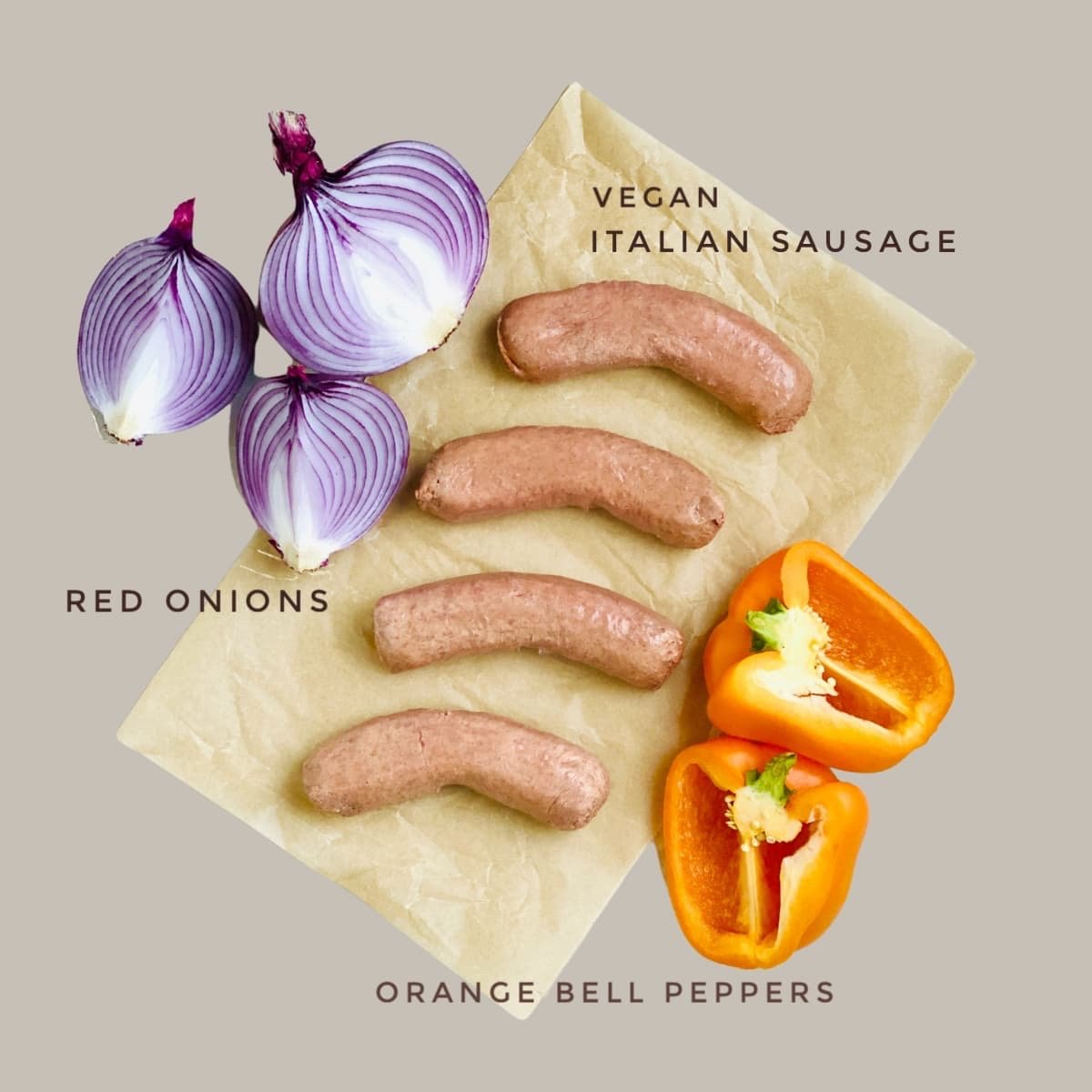 Ingredients For Vegan Italian Sausage, Peppers And Onions