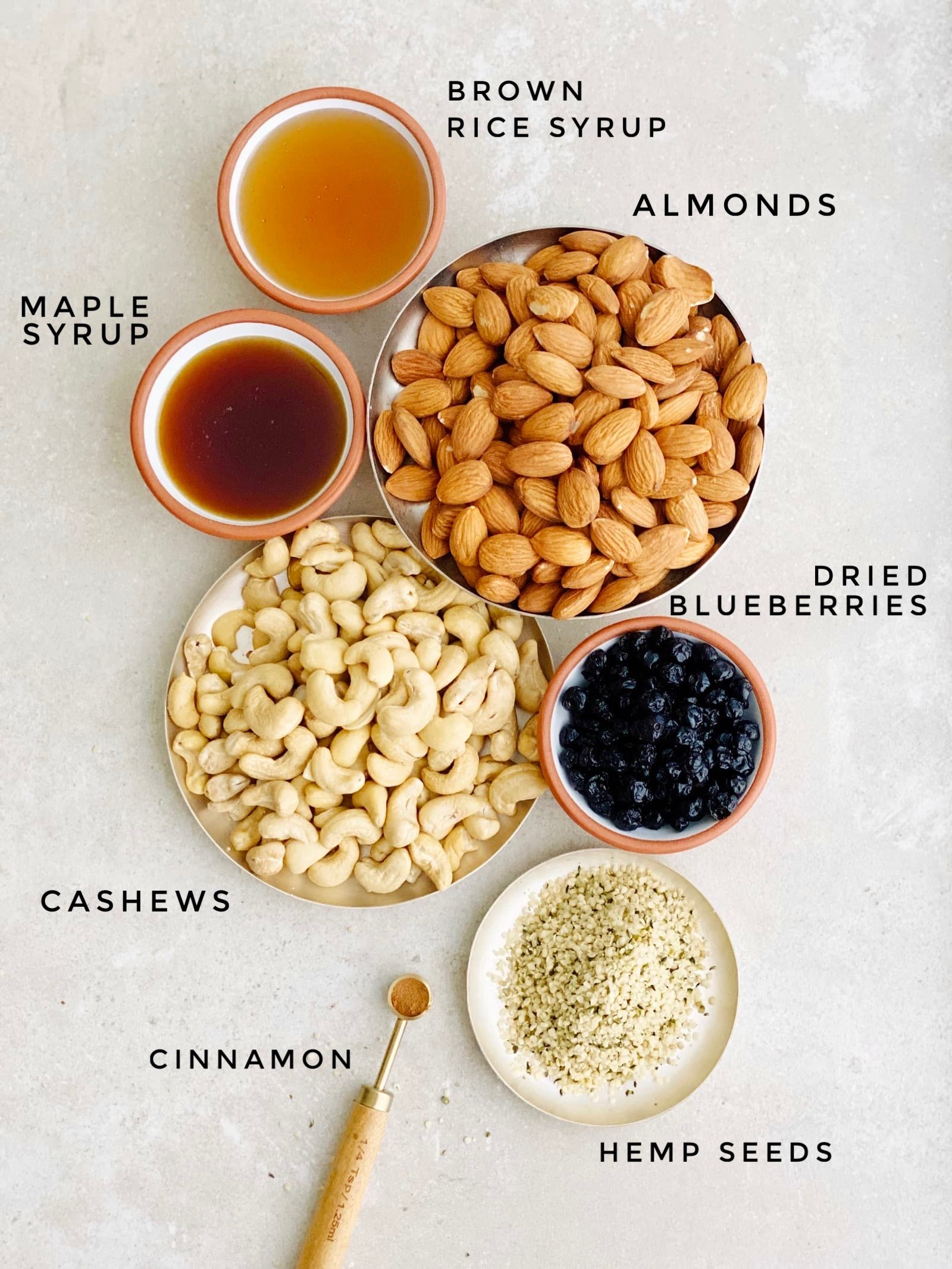 Homemade Fruit & Nut KIND Bars With Blueberries Ingredients  Vegan & Gluten-free