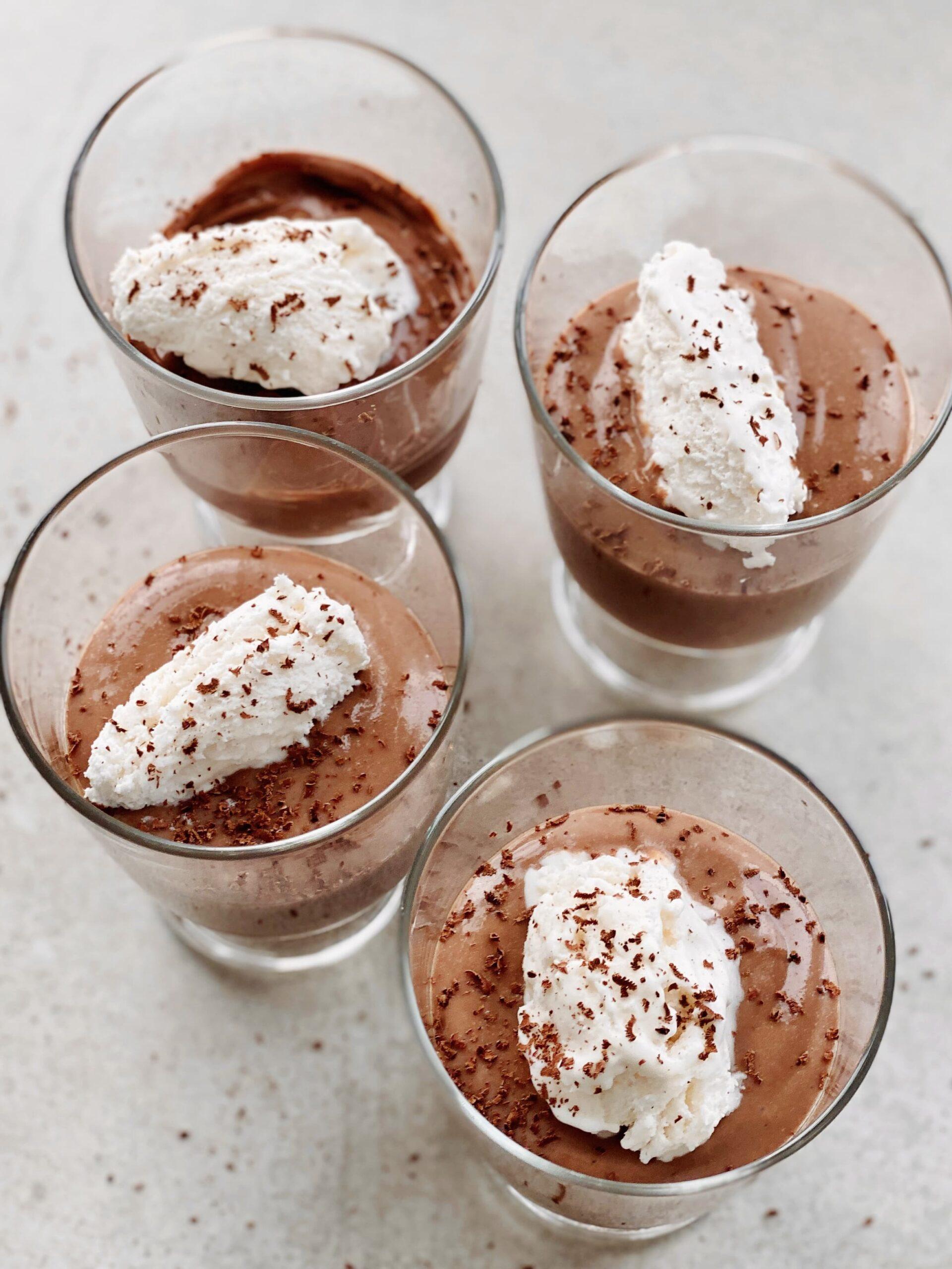 Tofu Chocolate Pudding With  Vegan Whipped Cream